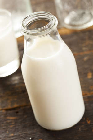 Refreshing White Cold Organic Dairy Milk in a bottle