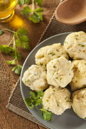 jewish food: Homemade Matzo Ball Dumplings with Parsley for passover