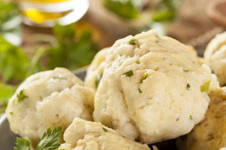 Homemade Matzo Ball Dumplings with Parsley for passover Stock Photo - 20086138