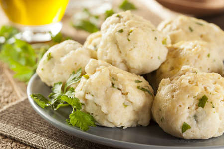 jewish cuisine: Homemade Matzo Ball Dumplings with Parsley for passover