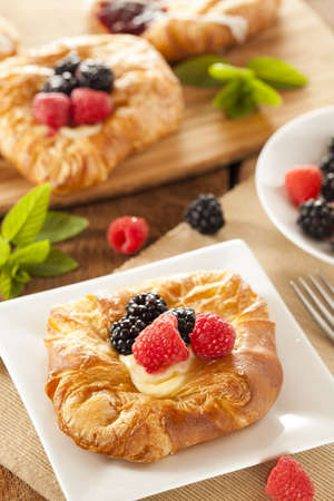 flaky: Homemade Gourmet Danish Pastry with berries and icing Stock Photo