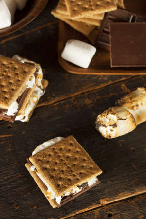 graham: Homemade Smore with chocolate and marshmallow on a graham cracker Stock Photo