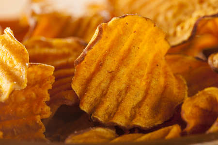 Crispy Orange Sweet Potato Chips with sea salt photo