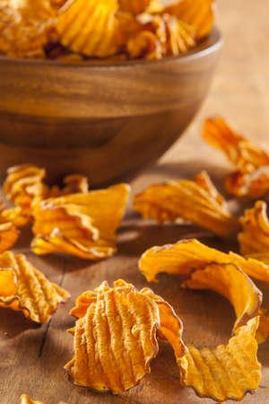 Crispy Orange Sweet Potato Chips with sea salt photo
