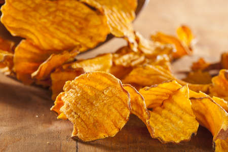 baked potato: Crispy Orange Sweet Potato Chips with sea salt