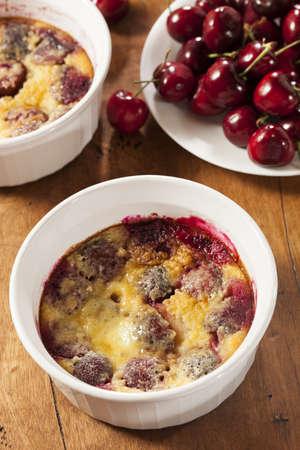 Homemade Organic Cherry Cobbler Cake in a single serve dish