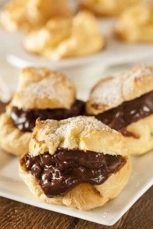 puffs: Homemade Chocolate Cream Puffs against a background