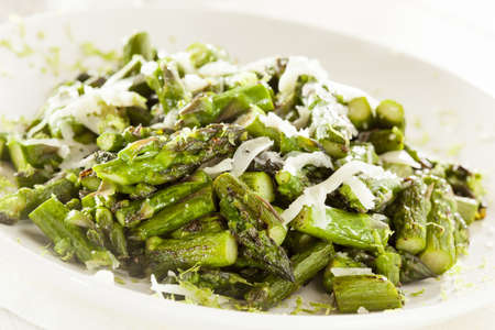 Healthy Sauteed Chopped Asparagus with Cheese and Lime photo