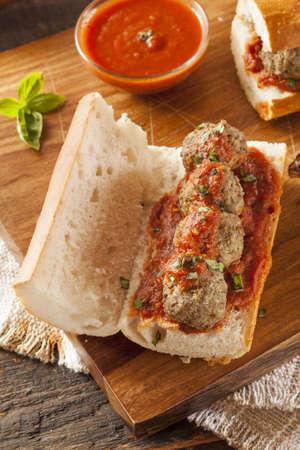 marinara: Homemade Spicy Meatball Sub Sandwich with Marinara Sauce and Cheese Stock Photo