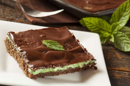 Homemade Chocolate and Mint Brownie Against a Background