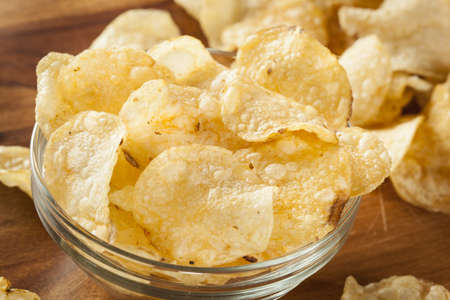 Unhealthy Crispy Potato Chips with Sea Salt