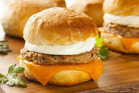 Sandwich de huevo casero con jamón y queso en un rollo Foto de archivo