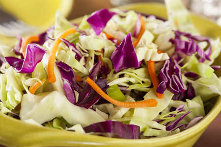 Homemade Coleslaw with Shredded Cabbage, Carrots, and Lettuce