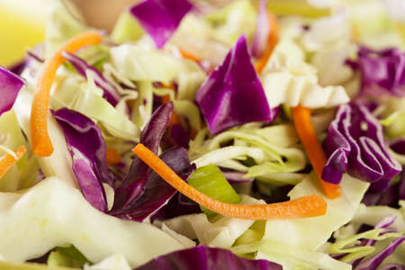 Homemade Coleslaw with Shredded Cabbage, Carrots, and Lettuce photo
