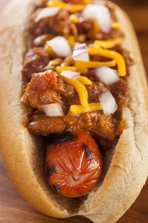 wiener dog: Homemade Hot Chili Dog with Cheddar Cheese and Onions