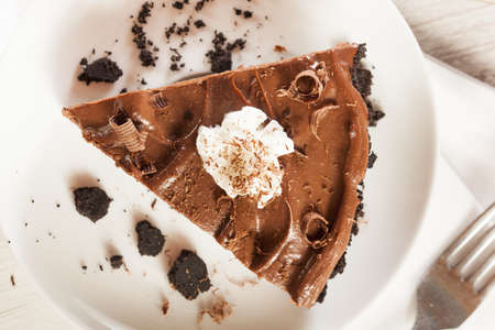 Homemade Chocolate Tofu Pie on a Background