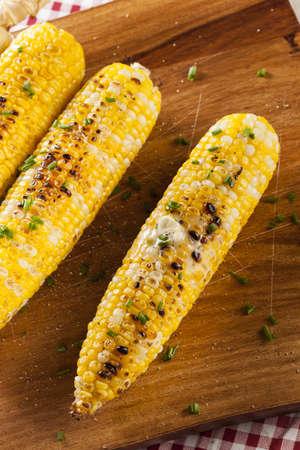corn cob: Organic Grilled Corn on the Cob Ready to Eat Stock Photo