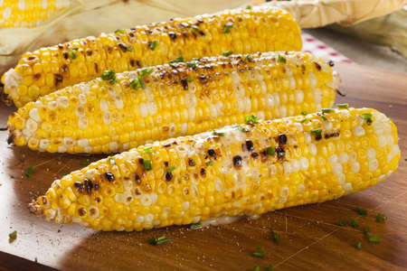 corn crop: Organic Grilled Corn on the Cob Ready to Eat Stock Photo
