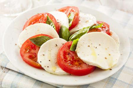 caprese salad: Homemade Organic Caprese Salad with Tomato and Mozzarella
