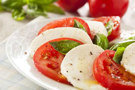Homemade Organic Caprese Salad with Tomato and Mozzarella