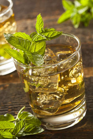 Homemade Gourmet Fresh Mint Julep Alcoholic Cocktail Stock Photo