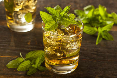 derby: Homemade Gourmet Fresh Mint Julep Alcoholic Cocktail Stock Photo