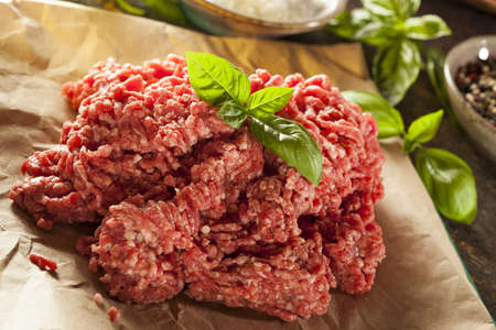 ground beef: Organic Raw Grass Fed Ground Beef on Butcher Paper