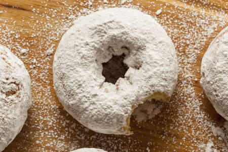 White Homemade Powdered Donuts on a Background Reklamní fotografie