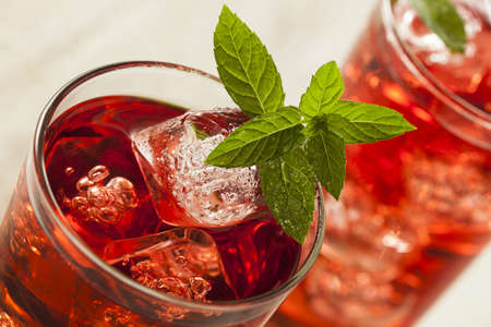 t� helado: Refrescante Berry Hibiscus T� helado con menta