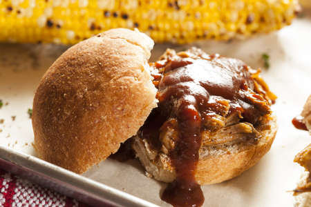 Smoked Barbecue Pulled Pork Sliders with Sauce photo