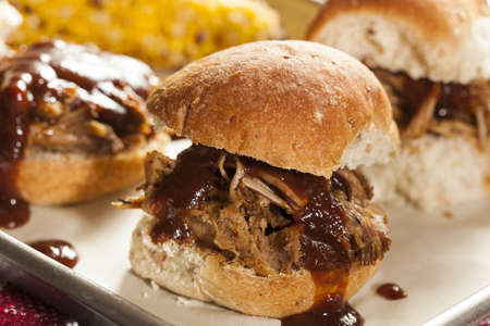 sliders: Smoked Barbecue Pulled Pork Sliders with Sauce