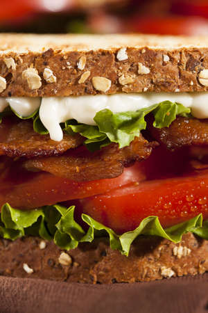 Fresh Homemade BLT Sandwich with Bacon Lettuce and Tomato photo