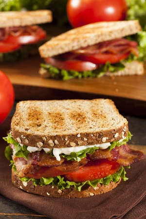 deli sandwich: Fresh Homemade BLT Sandwich with Bacon Lettuce and Tomato