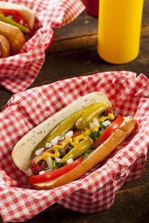 Chicago Style Hot Dog with Mustard, Pickle, Tomato, Relish and Onion