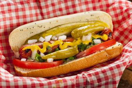 wiener dog: Chicago Style Hot Dog with Mustard, Pickle, Tomato, Relish and Onion