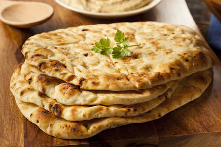 homemade bread: Homemade Indian Naan Flatbread made with Whole Wheat