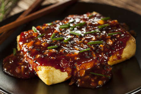 Healthy Organic Grilled Tofu with Spicy Garlic Sauce and Chives