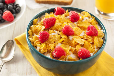 Healthy Cornflake Cereal for Breakfast with Berries