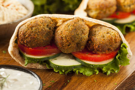 Organic Falafel in a Pita Pocket with Tomato and Cucumber Stock Photo - 22037330