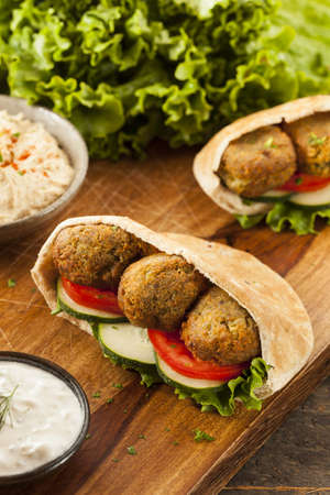 Organic Falafel in a Pita Pocket with Tomato and Cucumber photo