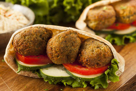 falafel: Organic Falafel in a Pita Pocket with Tomato and Cucumber