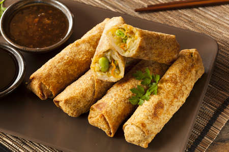Homemade Chinese Vegetable EggRolls with Soy Sauce photo