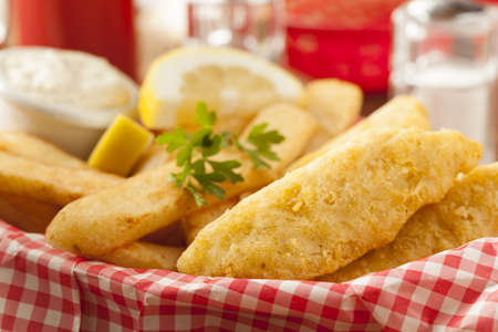 Traditional Fish and Chips with Tartar Sauce photo