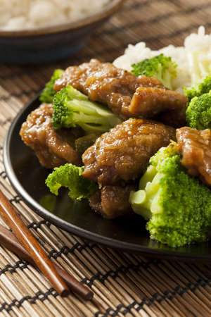 chinese meal: Homemade Asian Beef and Broccoli with Rice