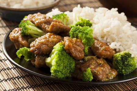 自家製アジア牛肉とご飯とブロッコリー 写真素材