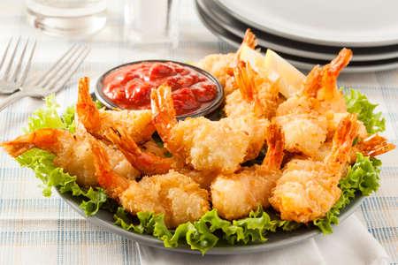 �shrimp: Camar�n frito de coco org�nico con salsa rosa