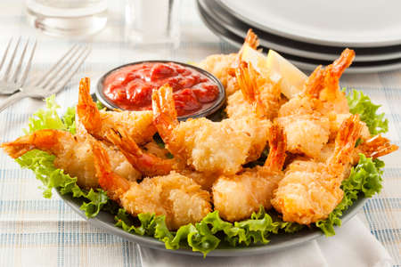 breaded: Fried Organic Coconut Shrimp with Cocktail Sauce