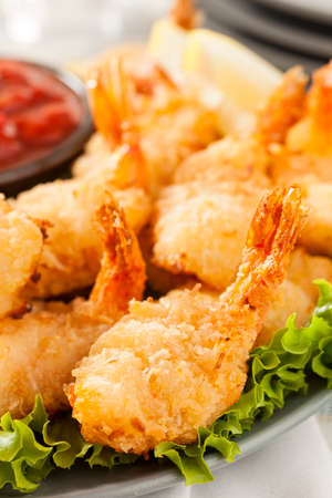 Fried Organic Coconut Shrimp with Cocktail Sauce