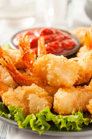 Fried Organic Coconut Shrimp with Cocktail Sauce photo