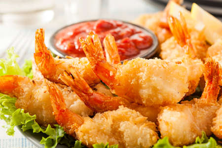 fried shrimp: Fried Organic Coconut Shrimp with Cocktail Sauce